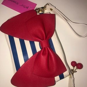 Red, white and Navy Betsy Johnson Clutch